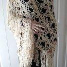 Vintage Handmade Crocheted Shawl Beige Yarn So Feminine