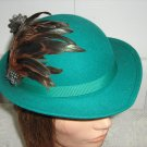 Vintage Green 100% Wool Doeskin Felt/Feather Women Hat XS