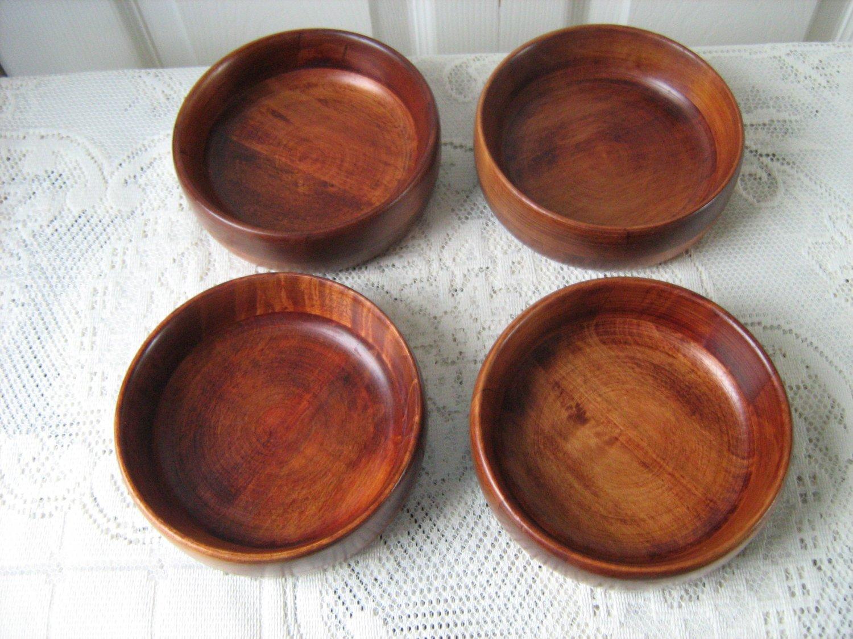 Vintage Wood 4 Individual Salad Bowl Baribocraft  60's