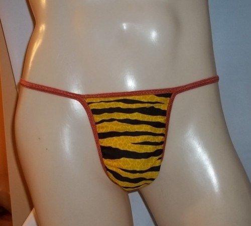 Mens Thong DIAMOND BACK G String Yellow Tiger 5DBf
