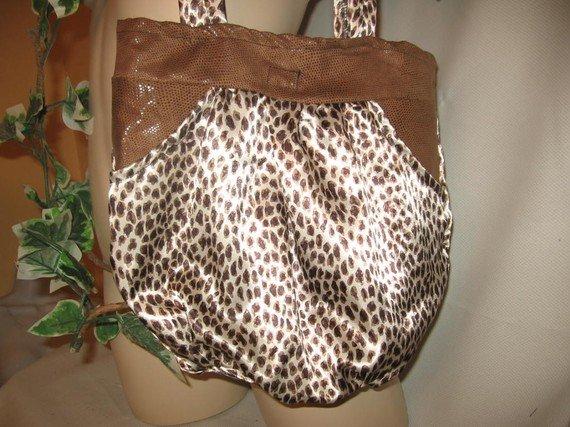 Hobo Bag Purse Boho RECYCLED Leopard and Python SATIN Handy Pockets