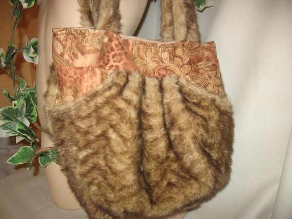 Hobo Bag Purse Boho RECYCLED Faux Mink and Sueded HANDY POCKETS