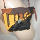 LEATHER Boho Bag Deer Skin FEATHER and BEAD Trim CHOCOLATE MOUNTAINS