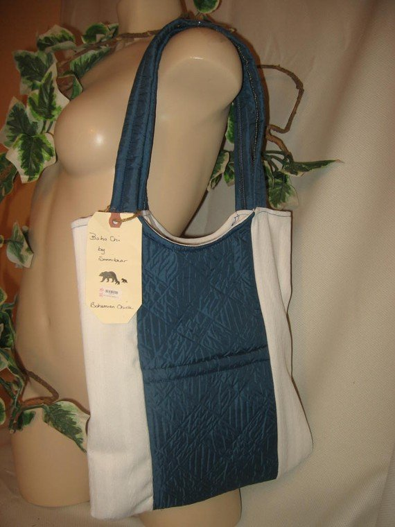 Tote Bag Boho Purse LOTS OF POCKETS Roomy Blue and White PENN STATE