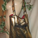 Tote Bag Boho Purse LOTS OF POCKETS Roomy Hobo GOLD SPRAY