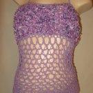 Crochet Corset Halter Top LACING Lavender Lacing Fluffy