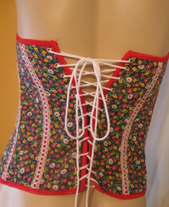 Quilted COUNTRY Calico CORSET Zipper Front Lacing