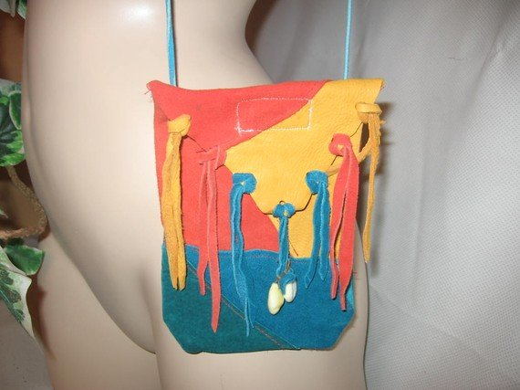 LEATHER Boho Bag Deer Skin FEATHER and BEAD Trim SUNSET BEACH