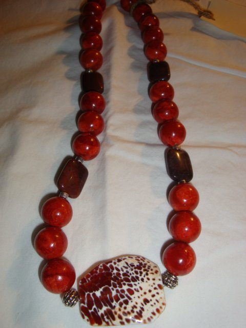 Hot Red Malachite & Moukaite Jasper Necklace