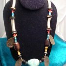 Ocean Blue Turquiose and Coral Necklace