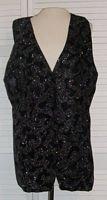 Black Velvet Silver Glitter Vest Waistcoat Size 16 .... FREE SHIPPING!