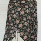 Sheer Green Floral Shirt Blouse Skirted Waist Stefano Size L Large..