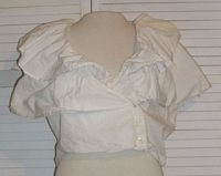 Short Cropped White Cotton Shirt Ruffles Sleeveless Size L Large..