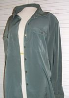 Dressy Green Silky Polyester Shirt  Joanna Size XL Extra Large