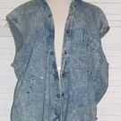 Distressed Denim Vest Studs Rhinestones Ragged The Gap Size L Large