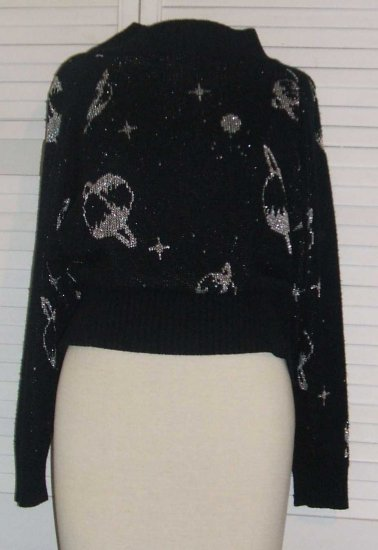 Black Knit Sweater Silver Metallique Planets Saturn Intro Size L Large w/ FREE SHIPPING