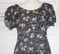 Long Black FLoral Summer Dress Empire Size 13 / 14 All That Jazz...
