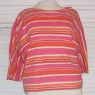 Striped Cotton Shirt Pink White Size L Large 12 / 14 Stefano...