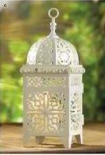 White Scrollwork Candle Lantern