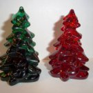 Mosser Glass SET of TWO RUBY RED EMERALD GREEN MINI CHRISTMAS TREES Tree