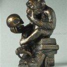 Rheinhold Philosophizing Monkey With Skull Mini Statue Sculpture Pocket Art