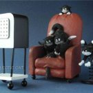DUBOUT CATS WATCHING SCARY MOVIE CHATS QUELLE HORREUR! STATUE SCULPTURE FRANCE