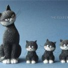 """CATS IN A ROW"" MOM CAT & THREE KITTENS STATUE SCULPTURE ARTIST DUBOUT FRANCE"