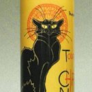 LE CHAT NOIR BLACK CAT CERAMIC CYLINDER CANDLE HOLDER TEALIGHT ARTIST STEINLEN