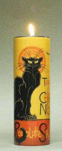 LE CHAT NOIR BLACK CAT CERAMIC CYLINDER CANDLE HOLDER TEALIGHT ARTIST STEINLEN