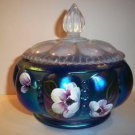 Fenton Glass BLUE FAVRENE HP Covered Melon Candy Box Dish - Final Offering NIB!