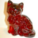Mosser Handmade Glass Ruby Red Persian Cat Kitten Figurine Paperweight