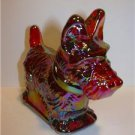 MOSSER DARK RUBY RED CARNIVAL GLASS SCOTTIE DOG WESTIE FIGURINE
