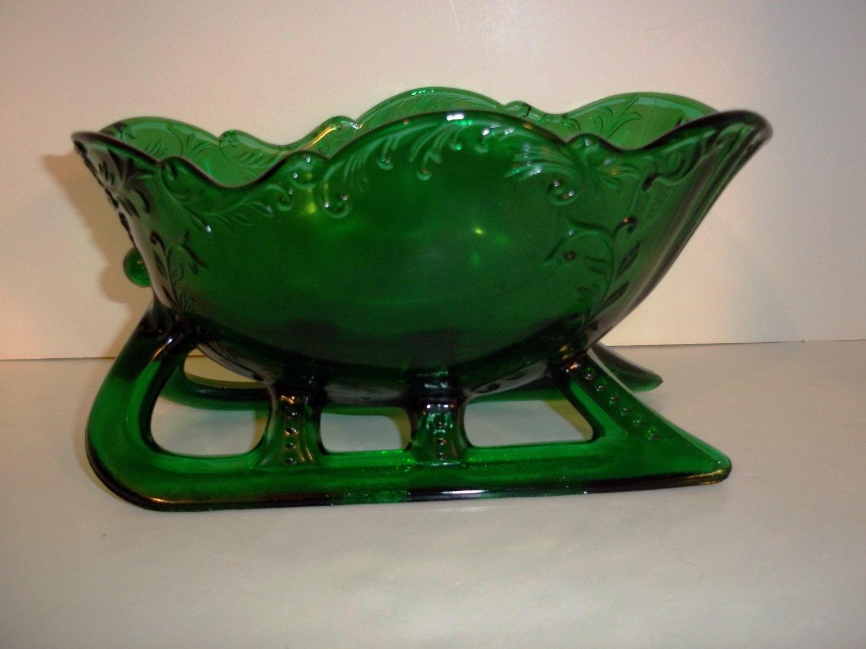 "Mosser Glass 9"" EMERALD GREEN VICTORIAN CHRISTMAS SANTA SLEIGH CANDY DISH BOWL"