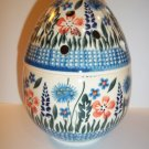 POLISH POTTERY EASTER EGG SHAPED COVERED JAR HP FLORALS BOLESLAWIEC STONEWARE