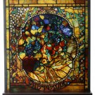 """Tiffany Style The Four Seasons """"AUTUMN"""" Stained Art Glass Window Panel Display"""