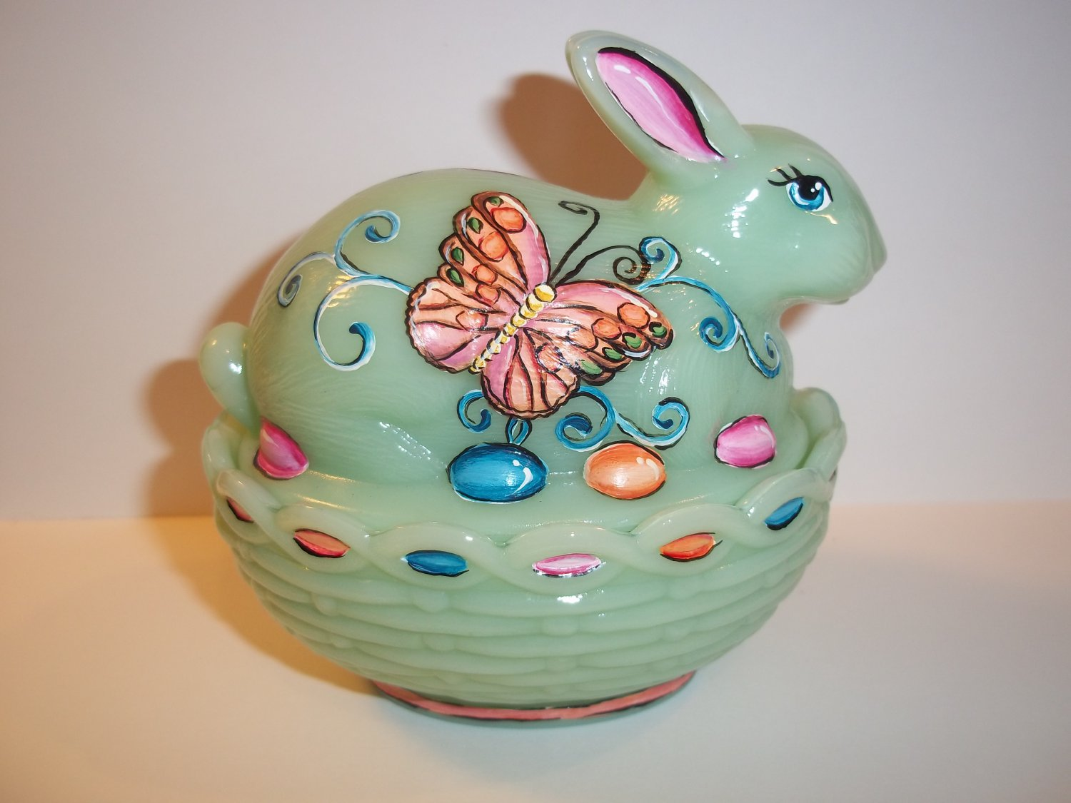 Mosser Glass Jadeite Green HP Easter Bunny Box Dish by Fenton Artist Sunday Davis OOAK