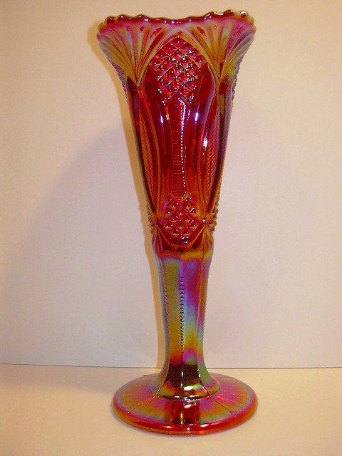 "Mosser Glass 10"" Ruby Red Carnival Diamond Classic Zipper File Vase"