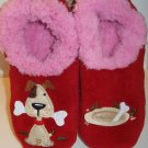 Snoozies Splitz Design Red Pink Puppy Dog Bone Animal Slippers Womens Size M 7-8