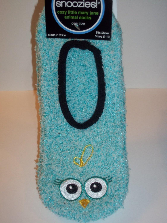 Snoozies Mary Jane Animal Socks - Blue OWL Pattern - Women's Size 5-10