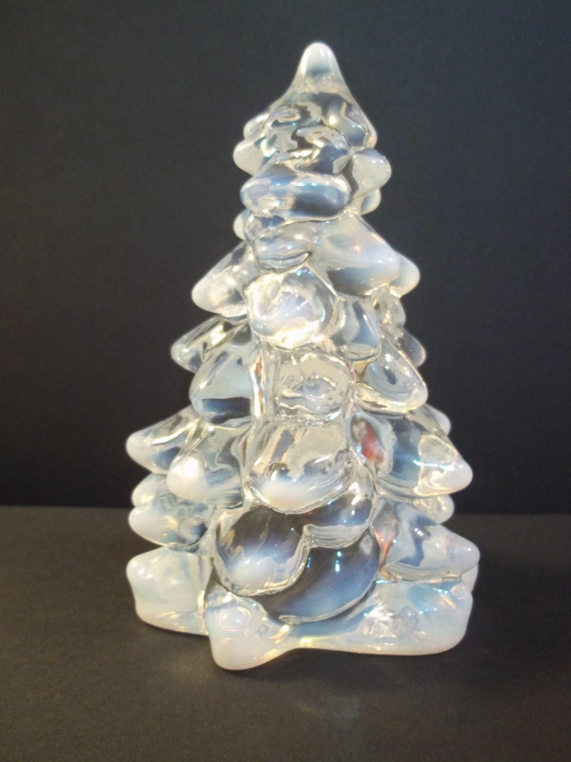 "Mosser Glass CRYSTAL FRENCH OPALECENT Medium 5.5"" CHRISTMAS TREE Figurine"