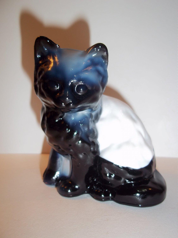 Mosser Glass Black Amethyst & White Slag Swirl Persian Cat Kitten Figurine 4