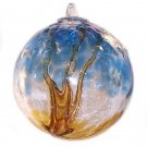 "6"" European Art Glass Spirit Tree Embossed Leaf ""ERIE SHORE"" Witch Ball Kugel"