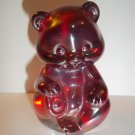 Fenton Glass RUBY RED CARNIVAL IRIDIZED SITTING BEAR Figurine PC
