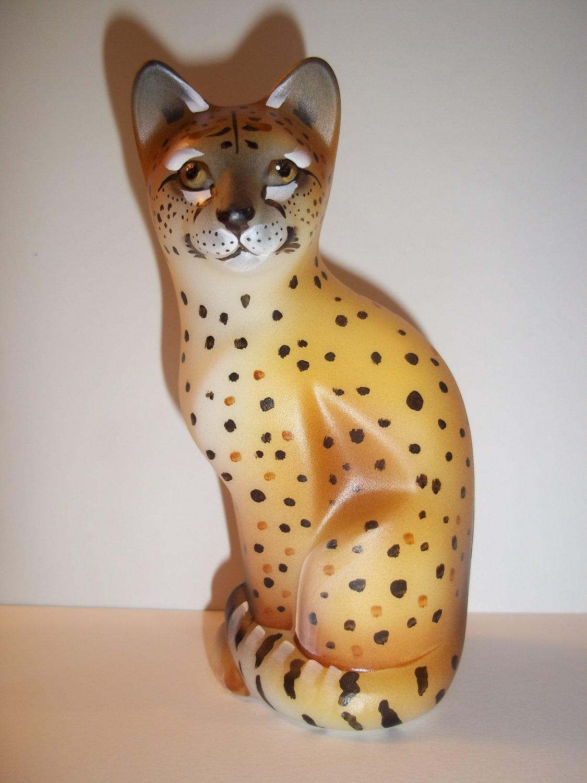 Fenton Glass Realistic Wild Cheetah Stylized Cat GSE J.K. Spindler Ltd Ed 4/19!
