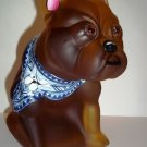 OOAK Amber Satin Glass French Bulldog Doorstop HP by Sunday Davis One of a Kind