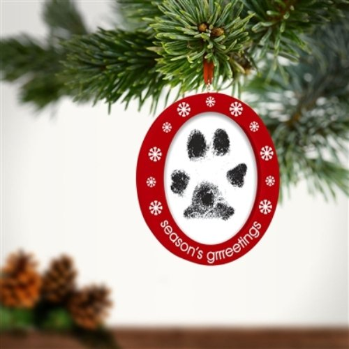 """""""Seasons Grrreetings"""" Pet Cat Dog Double Sided Photo and Ink Holiday Ornament"""