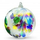 "4"" European Art Glass Crested Plume Multi-color & Pearlized White Witch Ball Kugel"