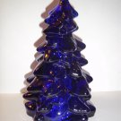 "Mosser Glass COBALT BLUE LARGE 8"" CHRISTMAS TREE Figurine HOLIDAY DECORATION"