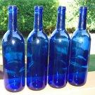 4 COBALT BLUE Cork Style Wine Bottles