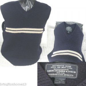 Authentic Issue Abercrombie & Fitch Sleeveless Sweater 80% Lambswool Size XL